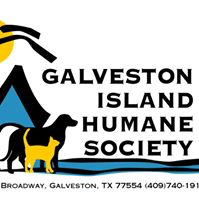 "Galveston Island Humane Society (Galveston, Texas) logo of sun, water, dog, cat & ""Galveston Island Humane Society"""