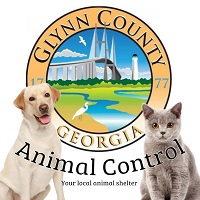 Glynn County Animal Control (Brunswick, Georgia) logo is round with a dog and cat sitting outside the logo