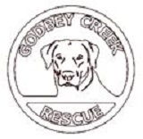 Godbey Creek Canine Rescue (Mocksville, North Carolina) logo has a dog head inside a circle with the name