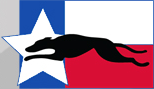 Greyhound Adoption League of Texas (Dallas, Texas) logo is a black greyhound running on a red, blue & white flag with a star