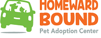 Homeward Bound Pet Adoption Center (Blackwood, New Jersey) logo is orange & grey with a green car with a silhouette of dog & cat