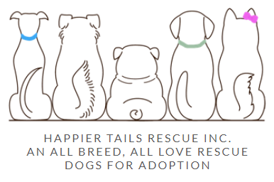 Happier Tails Rescue (Yorba Linda, California) logo with five dogs