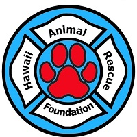 Hawaii Animal Rescue Foundation (Puunene, Hawaii) logo resembles an emergency services logo with a pawprint in the middle