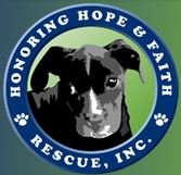 Honoring Hope and Faith Rescue (Houston, Texas) logo has a black dog framed by a circle with the org name and pawprints on it