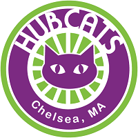 Hub Cats Chelsea (Chelsea, Massachusetts) logo is a cat face surrounded by rays in a circle with the organization name around it