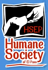 Humane Society of El Paso (El Paso, Texas) logo is blue and red, with hand reaching out to a dog and cat