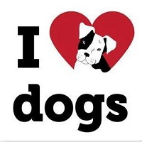 I Heart Dogs Rescue and Animal Haven (Warren, Michigan) logo of I heart dogs including black & white drawing of dog on red heart
