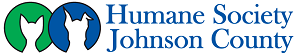 Humane Society of Johnson County (Franklin, Indiana) logo-name in blue, 1 circle with cat head, another with dog head outline