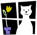 Kitty Cottage Adoption Center (Norristown, Pennsylvania) logo of kitten, window, flower, flower pot and Kitty Cottage Adoption