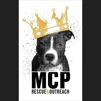 """Mission Compassion Paw Inc. (Chicago, Illinois) logo is a pit bull wearing a crown above """"MCP Rescue & Outreach"""""""