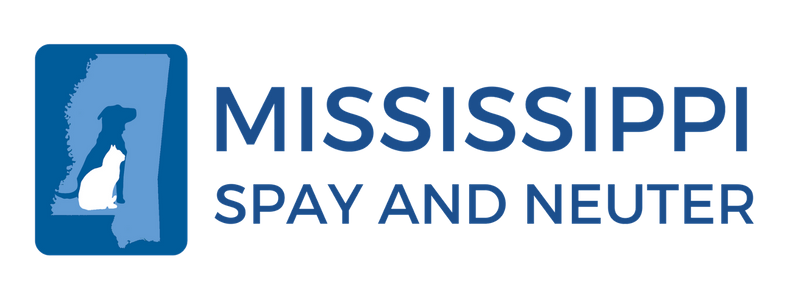 Mississippi Spay and Neuter (Richland, Mississippi) logo state of Mississippi with dog and cat silhouettes in blue