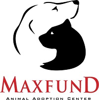 MaxFund Animal Adoption Center (Denver, Colorado) logo of white dog and black cat silhouette hugging, Maxfund