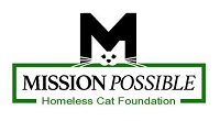 Mission Possible Homeless Cat Foundation (San Jose, California) logo is a cat face in the blank space of an M above the org name