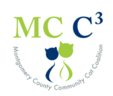 Montgomery County Community Cat Coalition (Spencerville, Maryland) logo with abbreviation and green and blue cat head