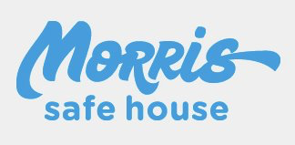 "Morris Safe House (Lubbock, Texas) logo is ""Morris Safe House"" in blue script inside a grey box"