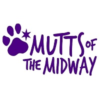 Mutts of the Midway (Chicago, Illinois) logo of purple paw print with star, mutts of the midway