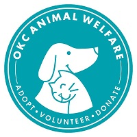 Oklahoma City Animal Welfare (Oklahoma City, Oklahoma) logo is a dog and cat snuggling together in a light blue circle