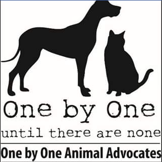 One by One Animal Advocates (Huntington, West Virginia) logo with dog and cat silhouettes above organization name