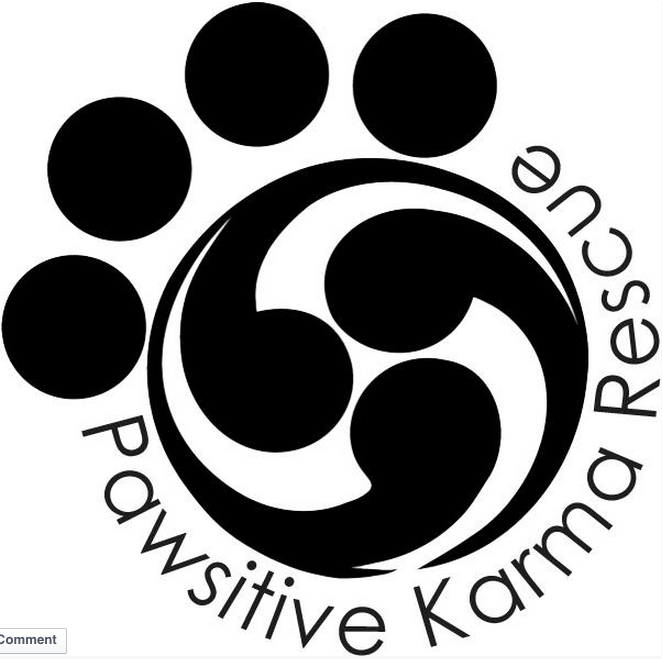 Pawsitive Karma Rescue (Cedar Park, Texas) logo is a paw print with karma swirls in a circle for the paw pad plus the org name