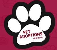 Pet Adoptions of Cuero (Cuero, Texas) logo of white paw print, black outline, Pet Adoptions of Cuero, save a life, adopt a pet