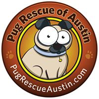 Pug Rescue of Austin (Austin, Texas) logo is a brown circle with the org name and website and a cartoon pug in the middle