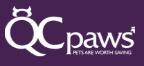 QC Paws (Moline, Illinois) logo with org name in white letters on purple background