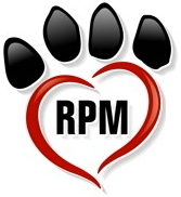 "Rescued Pets Movement (Houston, Texas) logo is a pawprint made from a heart with ""RPM"" in the middle"