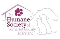 Humane Society of Somerset County Maryland (Princess Anne, Maryland) logo of house, paw, horse, dog and cat with text