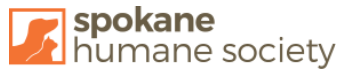 Spokane Humane Society (Spokane, Washington) logo with dog and cat silhouette in orange square next to organization name