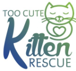Too Cute Kitten Rescue (Brawley, California) logo with green kitten with heart