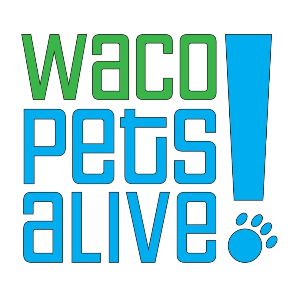 Waco Pets Alive! (Waco, Texas) logo blue and green text