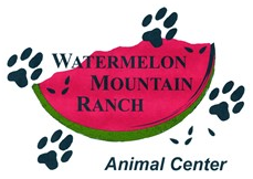 Watermelon Mountain Ranch (Rio Rancho, New Mexico) logo is a slice of watermelon with pawprints and the organization name on it