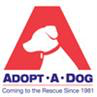 "Adopt-A-Dog logo with dog and tagline ""Coming to the Rescue Since 1981"""