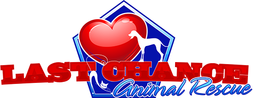 Last Chance Animal Rescue (Waldorf, Maryland) logo with blue dog house with red heart and white silhouette of cat and dog