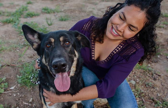 Jessica with Hans the German shepherd saved in Los Angeles