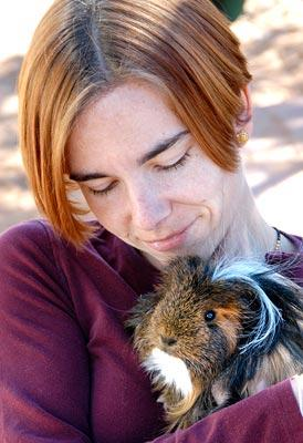 Guinea pig and his new mom