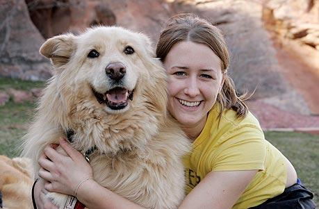 Vanderbilt University student and dog at Best Friends Animal Sanctuary