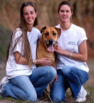 Leslie Harris, Karen Freitas, and dog