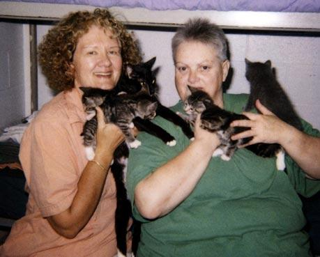 Prison kitten program coordinator Carole Whitcher (left) and Mel Cordle with kittens