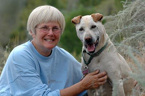 Spencer the dog and his new adoptive mom