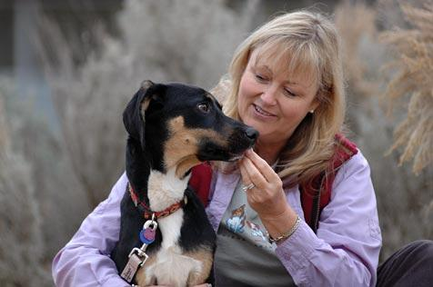 TTouch practitioner and her adopted dog from Lebanon