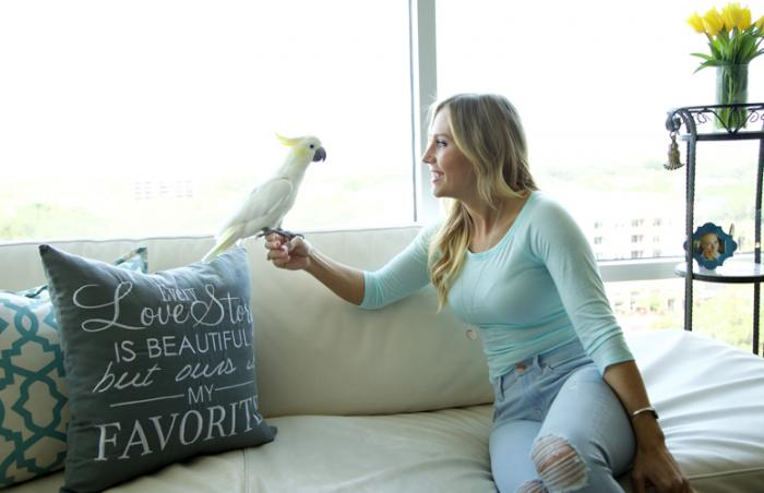 Angel the cockatoo and Cassandra at home