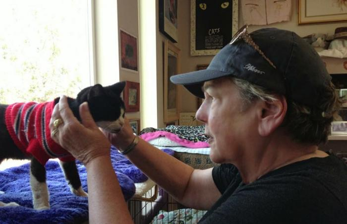 Liz volunteering with cats