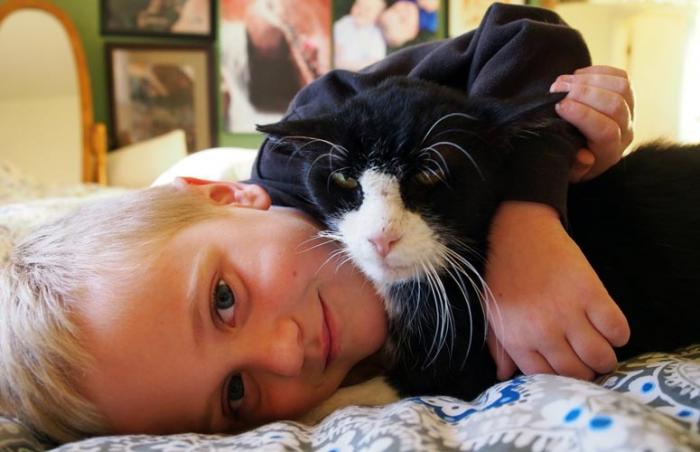 Dexter the 20-year-old cat was an instant fit. This is him snuggling with one of the boys in his new family.