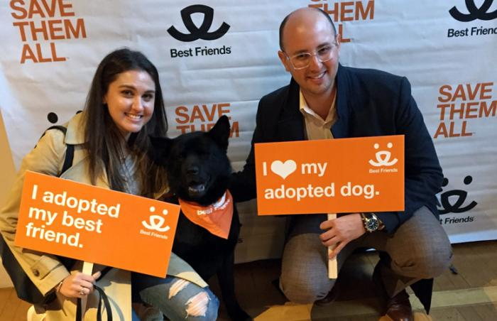 Hachi the Chow mix with Morgan and Jason