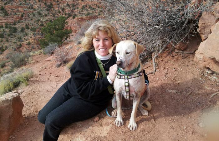 Texan Tammy Dalton with Marshmallow the dog at Best Friends Animal Sanctuary