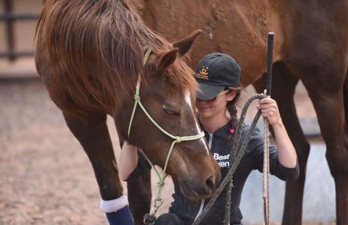 Alex enjoying her internship at Best Friends' Horse Haven