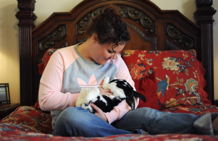 Lacey the rabbit enjoys her sleepover