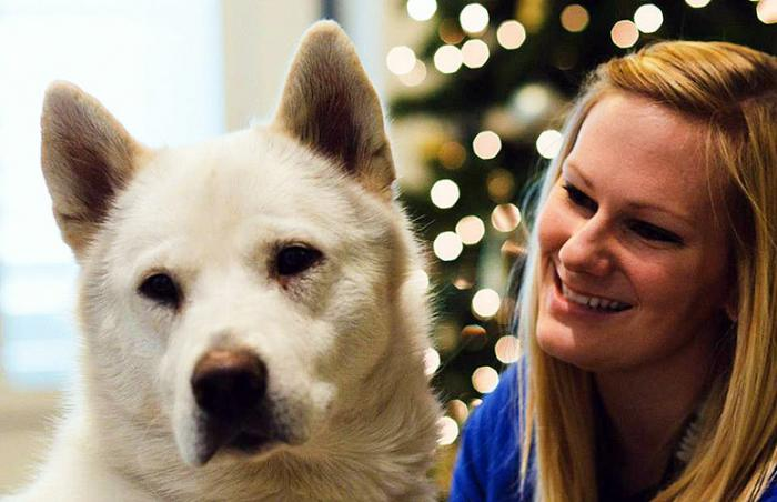 Adopted dog and woman adopter