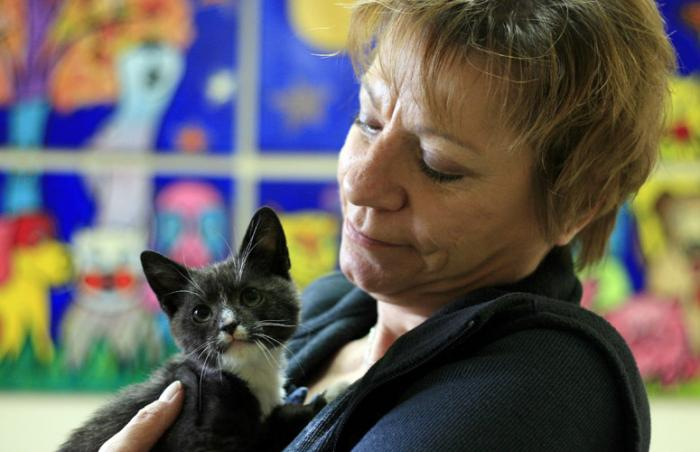 Barbara helping a kitten